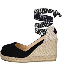 mc2 saint barth black print canvas espadrillas with hight wedge and ankle lace