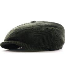 stetson hats hatteras classic corduroy flat cap | green | 6841107-4 grn
