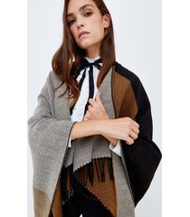 motivi maxi poncho color block donna marrone