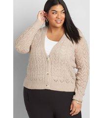 lane bryant women's button-front pointelle-stitch cardigan 22/24 tan
