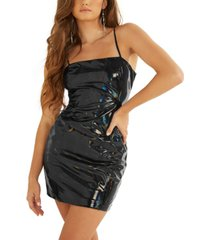 guess ariana faux-leather bodycon dress