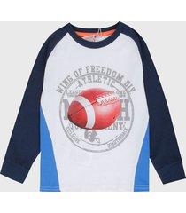 camiseta manga larga blanco-azul-multicolor boboli