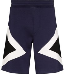 neil barrett modernist colour-block track shorts - blue