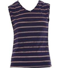 blusa dica de lingerie sem manga azul/dourado rs42