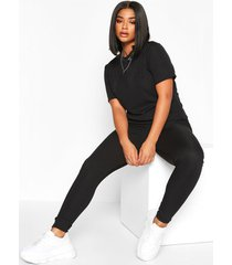 plus rib t-shirt + legging co-ord, black