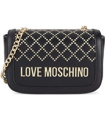 love moschino women's mini embellished faux leather crossbody bag - nero