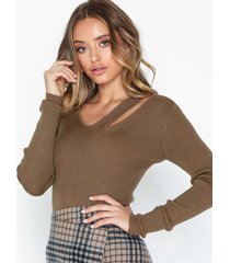 noisy may nmstine l/s cut out knit stickade tröjor