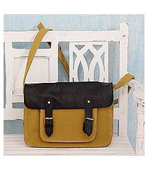 leather accent cotton messenger bag, 'casual in mustard' (india)