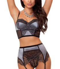 women's bustier and garter with panty set