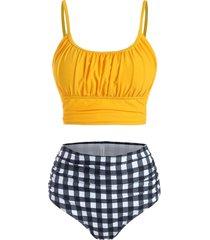gingham ruched bust tummy control bikini swimwear