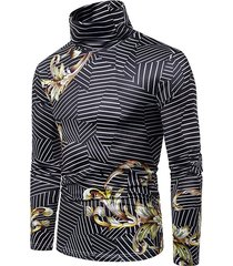 baroque striped geometric print turtleneck t-shirt