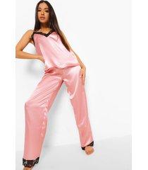 petite satijnen pyjama set met broek en kanten zoom, blush