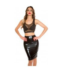 sexy pencil-koker rok in latex look zwart