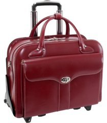 "mcklein berkeley 15.4"" top grain cowhide leather patented detachable -wheeled ladies' briefcase"