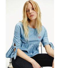 blusa chambray indigo tommy jeans