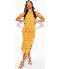ditsy floral tie shoulder midaxi dress, mustard