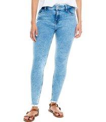 medium waist skinny fit jeans ruedo más ruedo desflecado color blue