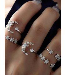 conjunto anillos estrella plata
