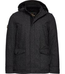 gyton hooded wool coat wollen jas lange jas zwart superdry