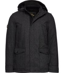 gyton hooded wool coat wollen jas lange jas zwart superdry