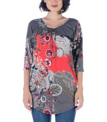 women's three quarter sleeve paisley print long tunic top