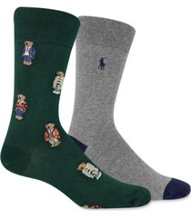polo ralph lauren men's 2-pk. bear quad dress socks