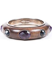 bottega veneta brown wood gemstone bangle bracelet brown/multicolor sz: