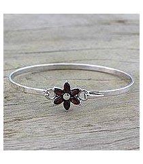 garnet pendant bracelet, 'marquise flower' (india)