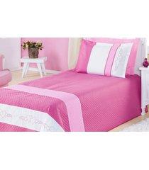 cobre leito angel solteiro 3 peã§as dourados enxovais pink - rosa - menina - dafiti