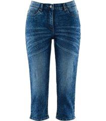 jeans capri elasticizzati con cinta comfort in look usato (blu) - bpc bonprix collection