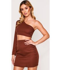 one shoulder rib top & mini skirt, chocolate