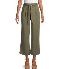 vero moda women's laura cropped wide-leg pants - ivy green - size l