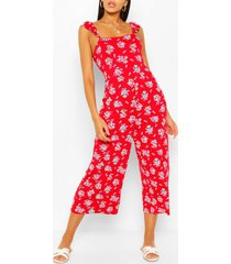 bloemenprint jumpsuit met geplooide schouders, rood