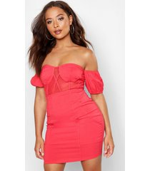 off the shoulder cupped panelled mini dress, coral