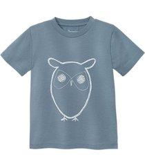 shirt met korte mouw uil van bio-katoen, jeansblauw 98/104
