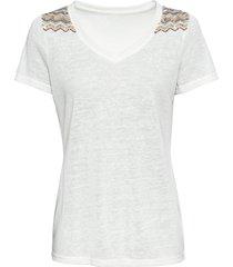 maglia effetto lino con paillettes (bianco) - bodyflirt