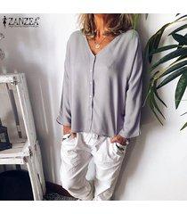 zanzea para mujer de manga larga con cuello en v tapas flojas camisas botón frontal de la blusa del tamaño extra grande -gris claro