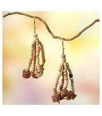 ceramic and bauxite waterfall earrings, 'empress' (ghana)