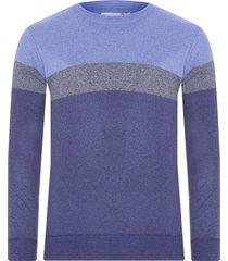 suéter masculino listrado gola careca - azul