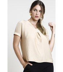 blusa feminina ampla manga curta decote v bege