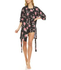 flora by flora nikrooz livia robe, tank top & tap shorts 3pc travel pajama set
