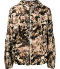 1017 alyx 9sm camouflage print zip-up hoodie - brown