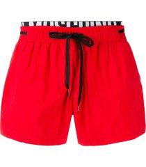 moschino elastic band swim shorts - red