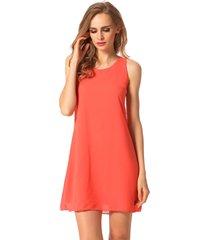 orange new stylish women fashion sleeveles chiffon going out casual dress