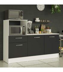 balcão madesa onix 180 cm 3 portas 1 gaveta e nicho para forno - branco/preto branco