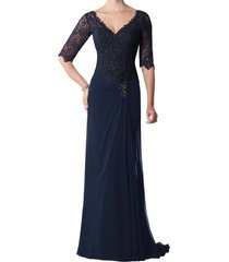 dislax v-neck half sleeve lace appliqued chiffon mother of the bride dresses nav