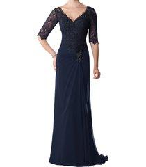 dislax v-neck half sleeve lace appliqued chiffon mother of the bride dresses nav
