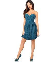 dark teal steel boned satin & lace empire waist corset dress regular & plus size