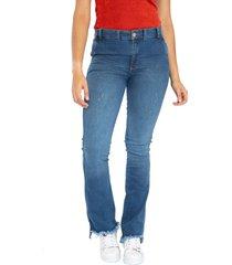 jeans bota recta flecos