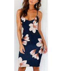 las flores aleatorias sin mangas azul marino imprimen sin respaldo sexy vestido con hombro ajustable cinturón